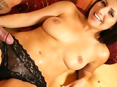 Horny Bianca Dagger jerking off off strong cock and gets cummed