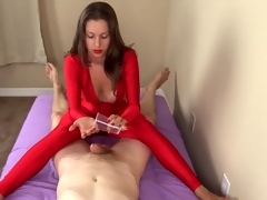 Handjob with an totting up of footjob wean away from hottie close by yon flames spandex