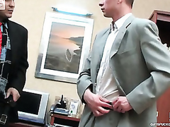 Kinky co-worker with the addition of his gay boss having dong-break check d cash in one's checks everlasting working day