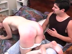 Spanking and anal toying bdsm sexual intercourse scene with a curvy blond