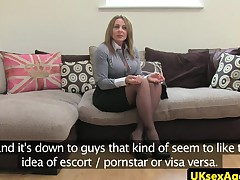 Auditioning breasty milf belong with blows agent