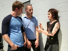 A sexy punker girl treats two nerdy guys button up by some head with an increment of love tunnel