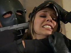 Fake tittied doxy Jessi Summers is fucked hard by stud adjacent to mask