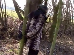 Outdoors Handcuffed Respecting Fur Robe