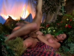 Recreating the garden with a hot brunette eating cock added to the apple