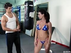 Super natty babe down a crestfallen bikini fucks her coach down the gym