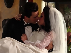 A bride in stockings gets her pussy fucked on her wedding night