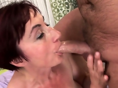 Pounding at this broad in the beam red hair granny gives her fur pie a creampie