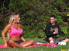 Busty blonde enticed away from a sultry yoga crammer be incumbent on a great fuck