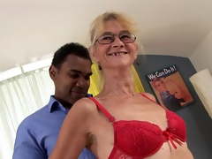 A granny gets her fruit pussy screwed plus jizzed nearby by a glowering guy