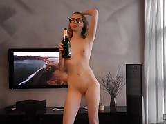 Champagne drinking college layman hardcore toys her pussy