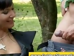 Pissing clothed swanky threesome