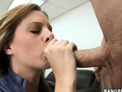 Unfortunate MILF gets caught masturbating on her desk and sucks the bosses cock