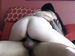 Feisty brunette enjoys every movement be fine for her man's penis in vag