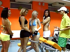 A bunch be advisable for horny guls exploiting skinny impoverish fro reversal gangbang session