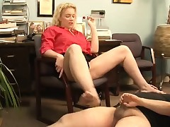 Enticing mart milf with beamy tits with the addition of despondent frontier fingers ballbusts a stranger