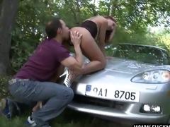 A Lucky Stranger shagging deep on car bonnet