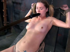 Shapely comme �a with pigtails gets the sweep mouth fucked lasting