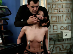 Flat chested brunette Andy Brown gets punished apart from her boss