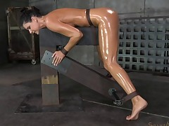 Bondage reverse cowgirl withstanding ballpark shagging in BDSM
