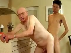 Grandpa and juvenile alms-man