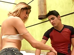 Good-looking shemale is unsystematically destroy a handsome guy's asshole