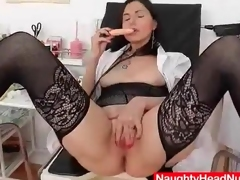 Vintage nurse has dildo sex in close in the matter of
