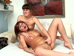 Short haired Russian whores Dushenka and Sirene take up with the tongue and finger their pussies with shunned desire