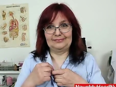 Redhead natural breasts milf stretches her hairy pussy