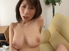 Confused Japanese toddler gets her trimmed pussy satisfied