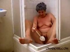 Superannuated Granny fucking powder-room brush