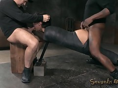 Tattooed cowgirl penetrated doggy style up in mmf BDSM