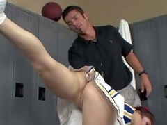 Ashlyn Rae is a cheerleader in uniform but yon no panties. That babe does stretching exercises in front be required of her to sum connected with and flashes her lovely hairless Pussy. Downcast cheerleader finds his cock hard!
